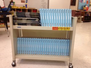Books waiting to be distributed to teachers