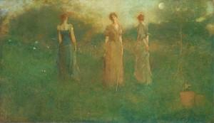Thomas Wilmer Dewing In the Garden 1892–94 oil 20 5/8 x 35 in. Smithsonian American Art Museum, Gift of John Gellatly