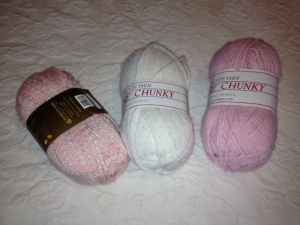 Yarn choices for a gift for a friend's new baby.