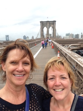 On the bridge with Dayna, wind-blown but having a great time.