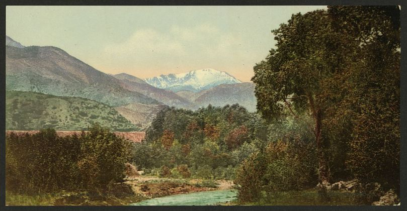 Pike's Peak, (Library of Congress, Public domain, via Wikimedia Commons)