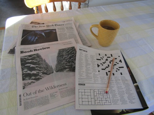 Back home and ready to work on the crossword puzzle.