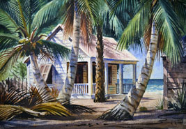"""By the Ocean, Key West"" by A. Johnson, WPA artist, via Key West Art & Historical Society"